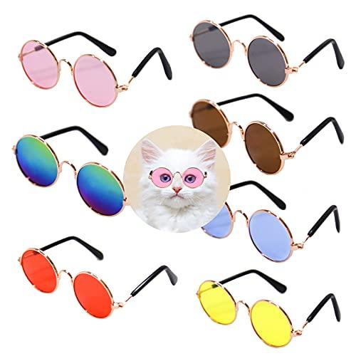 7 Pieces Pet Sunglasses Cute Retro Circular Cat Sunglasses Eye Wear Summer Hawaii Pet Sunglasses for Cat Small Dog Metal Transparent Cat Eye Sunglasses Vintage Cat Costume Cosplay Photo Props