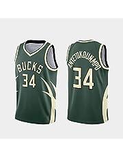 NBA Jerseys, Milwaukee Bucks # 34 AntetokounMpo Jersey, Cool Ademende stof, Unisex Basketball Fan Mouwloos Sport Vest Top