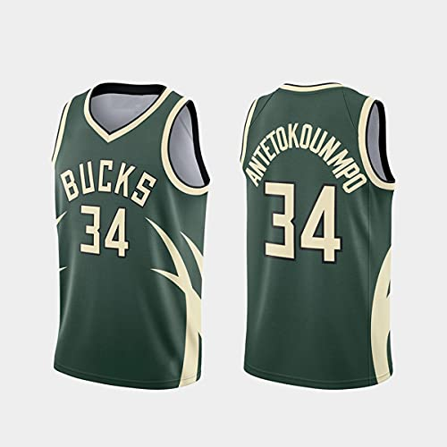 Jerseys de la NBA, Milwaukee Bucks # 34 Antetokounmpo Jersey, Tela Fresca Transpirable, Fan de Baloncesto Unisex Sin Mangas Sports Chaleco Top,A,XL