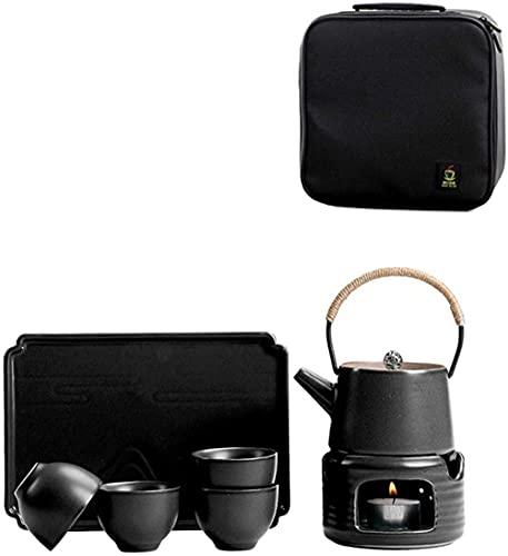 Bule de chá japonês, portátil para viagem, conjunto de chá Kungfu feito à mão com base aquecida de porcelana, 4 xícaras de chá, bandeja de chá, amplificador, bolsa de armazenamento verde (cor: preto)