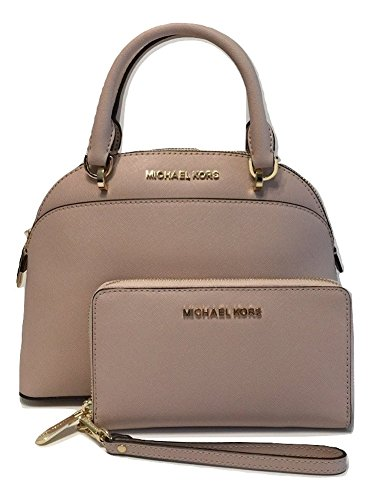 Bundle of 2 items: MICHAEL Michael Kors Emmy SM Dome Satchel bundle with Michael Kors Jet Set Travel Flat MF Phone Case Wallet Small Dome Satchel, top zip closure, from the newest just released Holidays Collection Adjustable crossbody strap with drop...