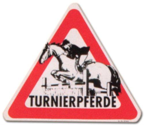 DEKO TRADER Aufkleber - Turnierpferde - Turnier Pferde Pferd Gestüt Schild Warnschild Warnzeichen Arbeitssicherheit Türschild Tür Kunststoff Kunststoffschild Geschenk Geburtstag