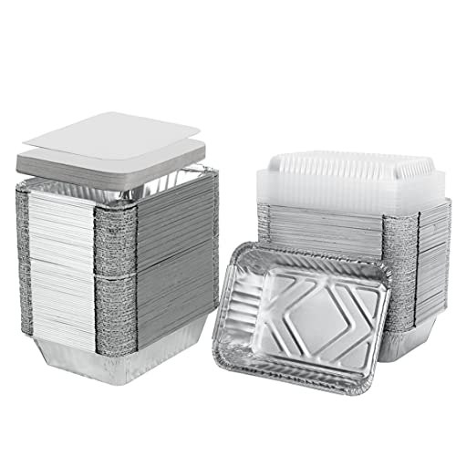[50 Pack] 2.1 Lb Aluminum Foil Pans with Board Lids, 8.7' x 6.1' Takeout Containers Recyclable Food Storage - Tin Foil Pans Great for Cooking, Baking, Heating, Prepping Food
