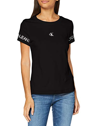 Calvin Klein Jeans Damen Outline Logo Tee Hemd, Ck Schwarz, XS