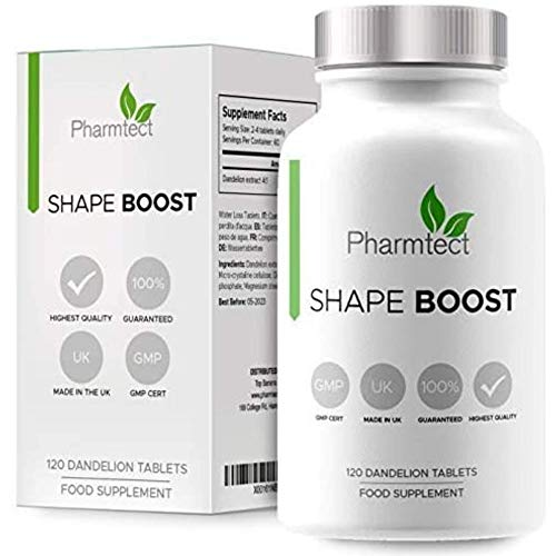 Pharmtect Shape Boost Tablets - Natural & Pure Dandelion Root 1000mg - Cleanse & Detox Formula 120 Vegan Tablets - 60 Servings UK Made