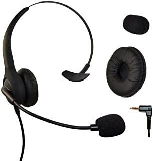 WirelessFinest - Auriculares de diadema con micrófono y controlador de volumen para Cisco SPA Series Spa303 Spa504g, etc., Polycom Soundpoint Ip 320 330, Grandstream, Cortelco