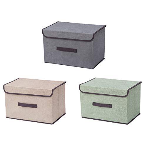 Faltbare Aufbewahrungsbehälter mit Deckel, 3 Farben, Grün, Grau, Beige, guter Aufbewahrungsbehälter für Zuhause, Büro, Schrank, Schlafzimmer, Wohnzimmer.