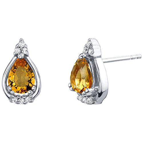Peora Citrine Stud Earrings in Sterling Silver, Empress Solitaire Teardrop Pear Shape, 7x5mm, 1.00 Carat total, Friction Backs