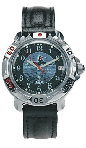 Vostok Komandirskie 811831 / 2414a Orologio russo militare Navy Marine sottomarino Capitan U-Boot nero