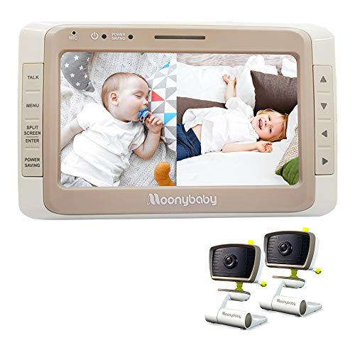 Moonybaby Split 50 Baby Monitor with 2 Cameras and Audio, Large Display with Wide View, Screen...