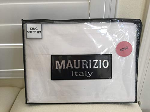 Maurizio Italy King Sheet Set 1 Top 1 Fitted 2 King Pillowcases White 100% Cotton