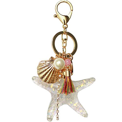 Cute Crystal Seafish Sea Star Keychain Shell Pearl Tassel Keyring Car Bag Purse Charm for Women Girls