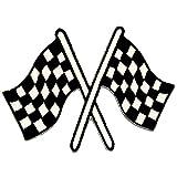 Zielflagge Fahne - Aufnäher, Bügelbild, Aufbügler, Applikationen, Patches, Flicken, zum aufbügeln, Größe: 9,0 x 7,0 cm