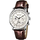 HONMIN Mens Watches Chronograph Date Analog Quartz Leather Strap Watch Casual Fshion Wrist Watches for Men (Brown)