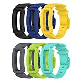 EEweca 6-Pack Bands Compatible with Fitbit Ace 2 Replacement Strap for Kids (Black, Night Sky, Neon Yellow, Gray, Green, Teal)