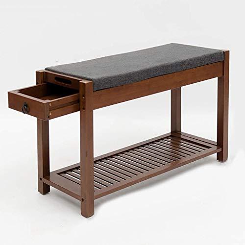 Wddwarmhome Zapatero de bambú con taburete nórdico sencillo para el hogar, zapatero de 81 x 30 x 48,5 cm (largo x ancho x alto). Color: A)