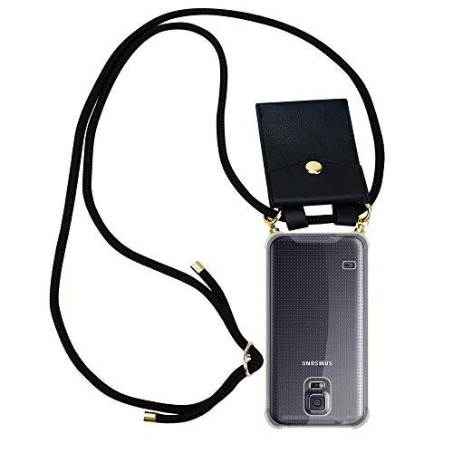 Cadorabo Handy Kette für Samsung Galaxy S5 / S5 NEO in SCHWARZ – Silikon Necklace Umhänge Hülle mit Gold Ringen, Kordel Band Schnur und abnehmbarem Etui – Schutzhülle