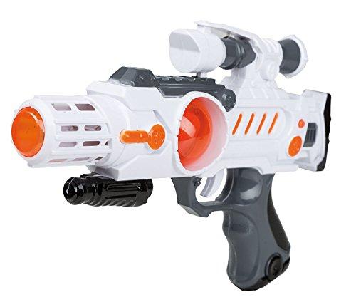 Idena, 40412 - Pistola Guerrero del Espacio con luz y Sonido, Efectos de Unos 28 cm