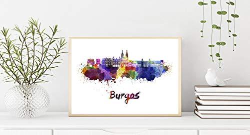 Burgos Skyline en Acuarela Papel Mate 240gr 30x40 cms