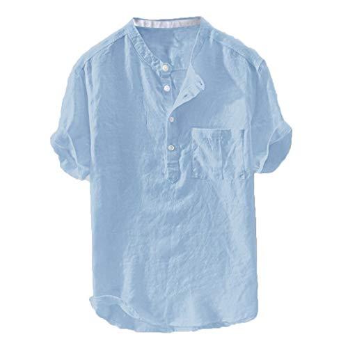 Leichte Leinenhemd Sommer Strandhemd Freizeit Hemden für Männer Henley Shirt,Leichte Atmungsaktives Bequem Leinen Sommerhemden Loose Fit
