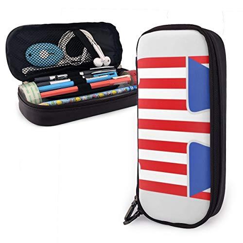 American Puerto Rico - Estuche para lápices con diseño de bandera de Puerto Rico, para niños y niñas, estuche grande para lápices y bolígrafos, para estudiantes, universidad, suministros escolares y oficina