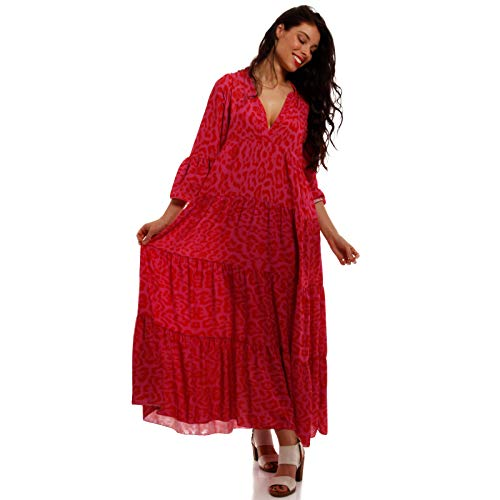 YC Fashion & Style Damen Boho Maxikleid Strandkleid Freizeit Sommer Party Kleid Hippie Kleid Plus Size Made in Italy (One Size, Mehrfarbig/Pink)