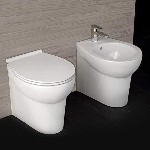 Ogomondo Sanitari Ceramica Dark A Pavimento Vaso WC + Bidet + Sedile
