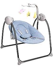 WILLQ Columpio para bebé/Mecedora/Cuna Eléctrico Compacto Plegable Aliviar Las Vibraciones Cabeza portátil Cuello Almohada Spin Juguete Control Remoto Gris