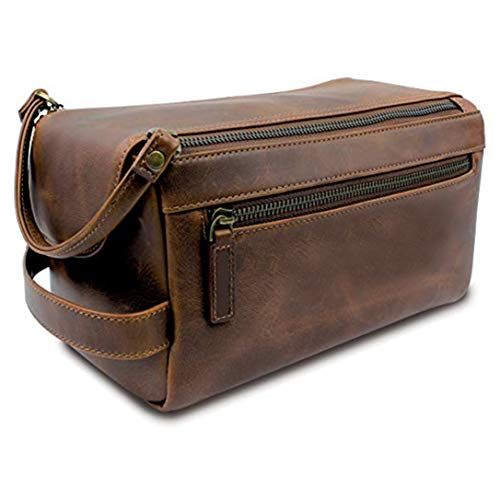 Genuine Buffalo Leather Unisex Toiletry Bag Travel Dopp Kit Made With High Class Buffalo Leather With 101 Year Warrenty With Replacement Dopp Kit For Men