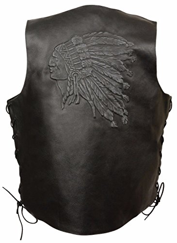 Men'S Motorcycle Black Indian Head Embroidered Leather Vest W/Side Laces Great $ (4XL Regular)