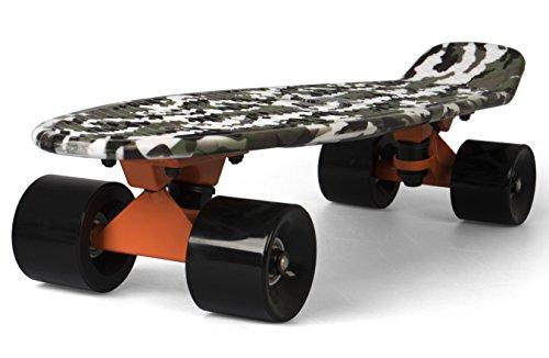 SportPlus Uni Ezy Mini-Cruiser Skateboard, Camouflage Grün, 56 cm