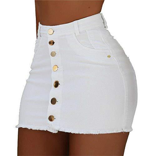 Falda de Mezclilla Blanca Falda con Bordes deshilachados Streetwear Estilo de Moda Mujer Minifaldas con Botones Faldas de Mujer Streetwear acanaladas