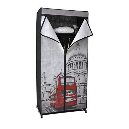 KHG Stoffschrank mit Doppeldecker B75 x H160 x T45cm Kleiderschrank mit Kleiderstange mobiler Campingkleiderschrank