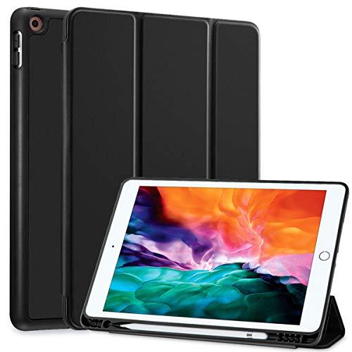 SIWENGDE Hülle für iPad 10.2 Zoll 2020/2019, schlanke leichte Schutzhülle für iPad 8. Generation/iPad 7. Generation, TPU Soft Smart Cover mit Stifthalter, Auto Wake/Sleep (Premium Schwarz)