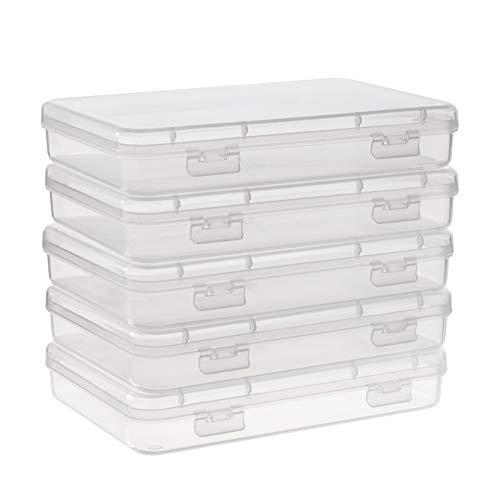 BENECREAT 5 Pack Caja de plastico 15.1x10.9x2.6cm Transparente con Tapas abatibles para articulos, Pastillas, Hierbas, Cuentas pequenas