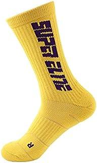 CHENDX 2 Pairs Men's Elite Socks Letters Fluorescent Left And Right Foot Towel Bottom Fission Sports Socks Basketball Socks Anti-skid Socks