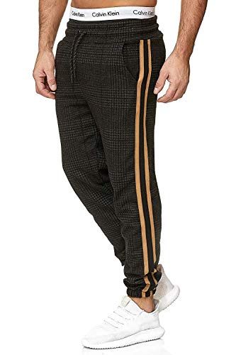 Yidarton Herren Jogginghose Stripe Sport Fitness Training Sweatpants Streetwear Slim Fit Freizeithose Jogger Hose (Large, Schwarz)