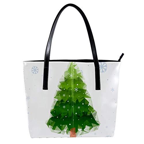 LORVIES abstrakter Weihnachtsbaum, PU Leder Schultertasche und Handtasche für Damen