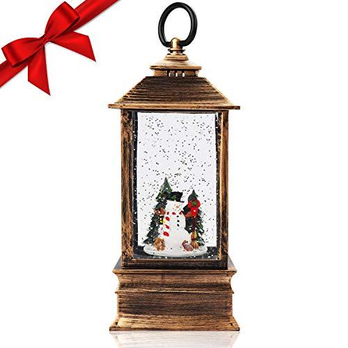 BELLE VOUS Schneemann Schneekugel Laterne Weihnachten - Schneelaterne mit Schneemann & Baum (25x9cm) – Weihnachtsdeko Innen Beleuchtet mit Wasser, Glitzer Gefüllte Bronze Laterne - Geschenk, Tischdeko