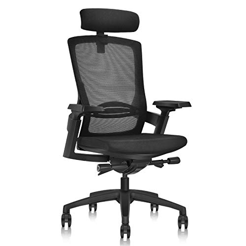 MOOJIRS Ergonomic Office Chair with Adjustable Cushion Depth | Mesh Backrest | Adjustable Lumbar Support | Adjustable 3D Armrest|Adjustable Chair Back Elasticity and Tilt Angle