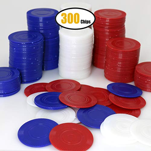 GiftExpress Lot of 300, Plastic Poker Chips for Kids Game Play, Learning Math Counting, Bingo Game, Red, White & Blue 100 pcs ea