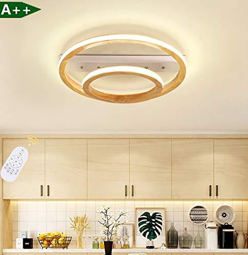 LED 2-ring plafond lamp houten plafond moderne woonkamer lamp ontwerp dimbare plafond verlichting massief hout acryl lampenkap in hoogte verstelbare ontwerp trap restaurant gang binnen houten lamp