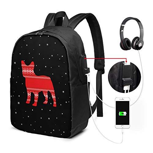 バックパック17インチベルト バックパック ビジネスバックパック ランドセル 登山バッグ クリスマスの犬 充電ポート ヘッドフォンポート ラベル 防水 旅行 ユニセックス 大容量 ストレージレジャー