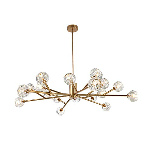 N/Z Living Equipment Ramas cromadas contemporáneas Lámparas de Techo para Comedor, Dormitorio, Sala de Estar, candelabros de Cristal Sputnik, 9 Luces Cristal Moderno Durante 12 Luces Dorado Claro