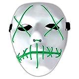 Amasawa LED Máscaras Adultos Cosplay Sin Batería con 4 Modos para Halloween la Fiesta de Disfraces la Navidad (Verde)