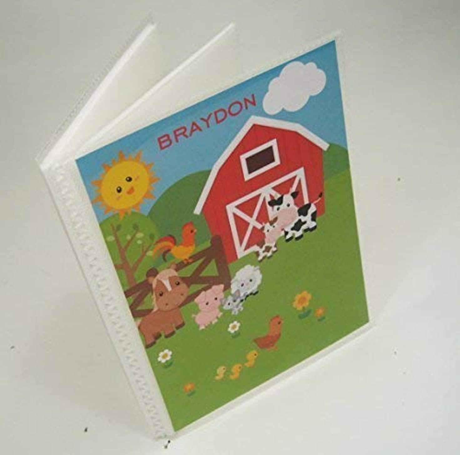Baby Photo Album IA#095 Farm Barnyard Animals Personalized Grandmas Brag Book 4x6 or 5x7 Picture Boy or Girl