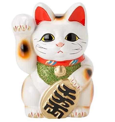 Hecho en Japón Lucky Cat 19 cm Tokoname porcelana blanca Maneki Neko mano derecha