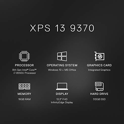 Dell XPS 9370 13.3-inch FHD Display Thin & Light Laptop (8th Gen i7-8550U/16GB/512GB SSD/Win 10 + MS Office/Integrated Graphics), Gold