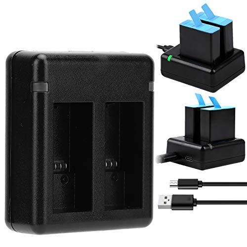 Yinzersy Cargador de batería para cámara Accesorios de cámara de Cargador de batería Dual portátil Profesional Batería de cámara Recargable con Cargador Dual USB para Go-Pro Hero