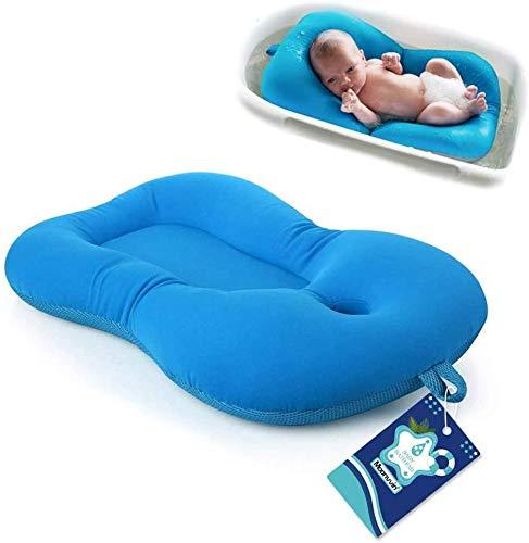 Moonvvin bebé bañista infantil de baño del cojín, flotante del amortiguador suave del bebé recién nacido y almohada de baño Tumbona Cojín de hidromasaje (Azul 2)